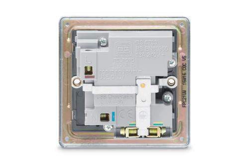 BG – 2USB2.1A單位有掣平面13A不銹鋼插座/蘇底-光面鉻鋼色 (型號 : FPC21U2G)