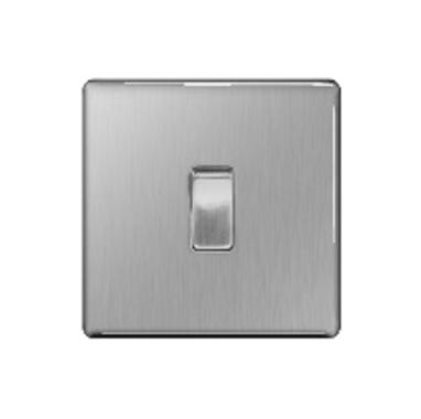 BG – 1位單向10A開關 -拉絲鋼色/光面鉻鋼/光面镍黑 (型號 : FBS11/FPC11/FBN11)