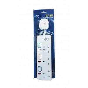 O'Tick 澳迪 – 安全拖板(獨立燈掣配3米電線及13A插頭) ET-212/ET-213/ET-214ET-215/ET-216