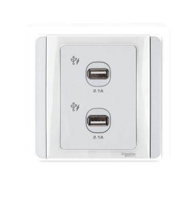Schneider 施耐德 – 雙位2.1A USB充電插座 E3032USB WW / E3032USB GS