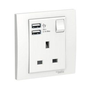 Schneider 施耐德 – 13A 單位連保護門有掣插座連雙位USB充電插座 E8215USB_WE/LS/WG/MB