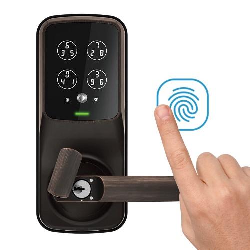 Lockly – 電子指紋門鎖 – Pin Genie 專利防偷窺按鍵 + 3D指紋 + 藍牙 + 鎖匙, 智能斜舌鎖 (建議室內使用) PGD628F