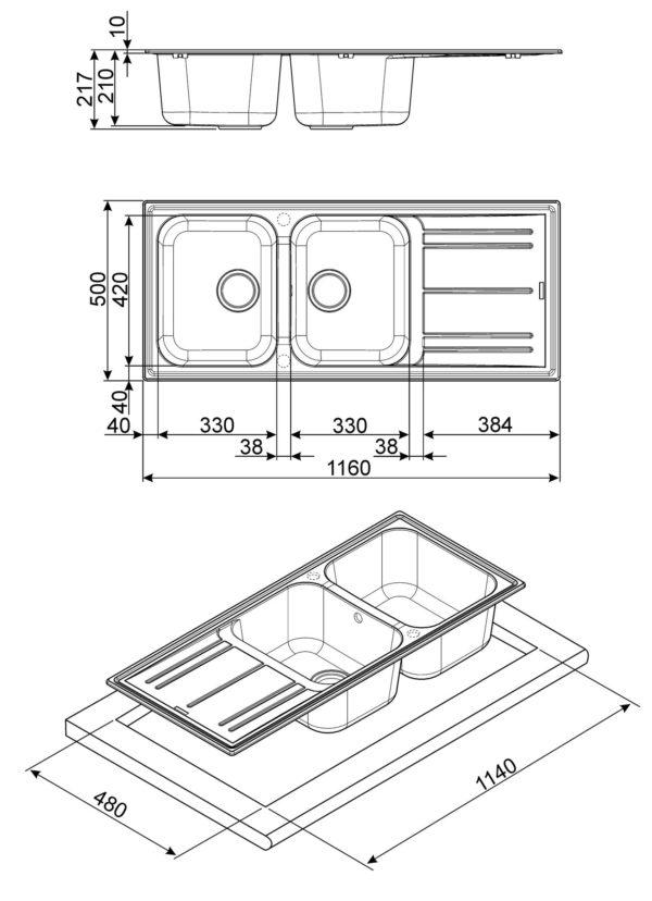 SMEG – 碳灰色(Anthracite) 雙盆左翼石盆(連去水及安裝配件) LZ116A2