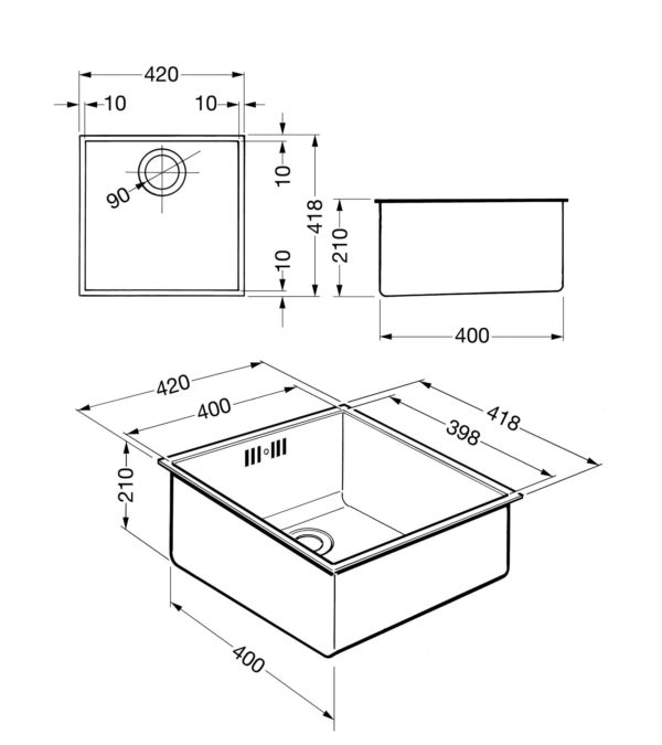 SMEG – 單盆不銹鋼檯底星盆 VSTQ40-2