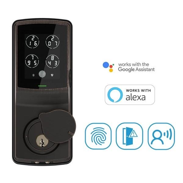 Lockly – 電子指紋門鎖 – PIN Genie™專利防偷窺按鍵 + 3D指紋 + 藍牙 + 鎖匙 + PGH200 Secure Pro Deadbolt Lock (PGD728W)
