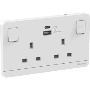 Schneider 施耐德 – 13A兩位 插座 連USB 充電插座 E83T25ACUSB_WE_C5